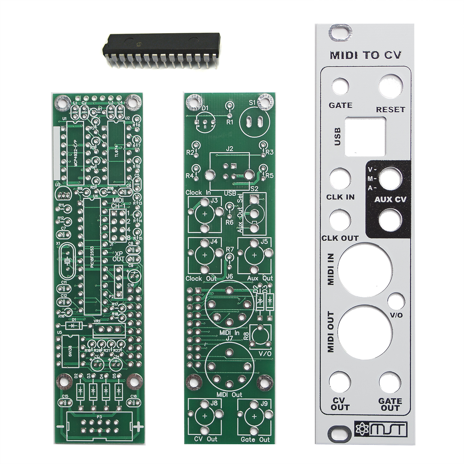 mst midi to cv converter pcbs  panel and ic