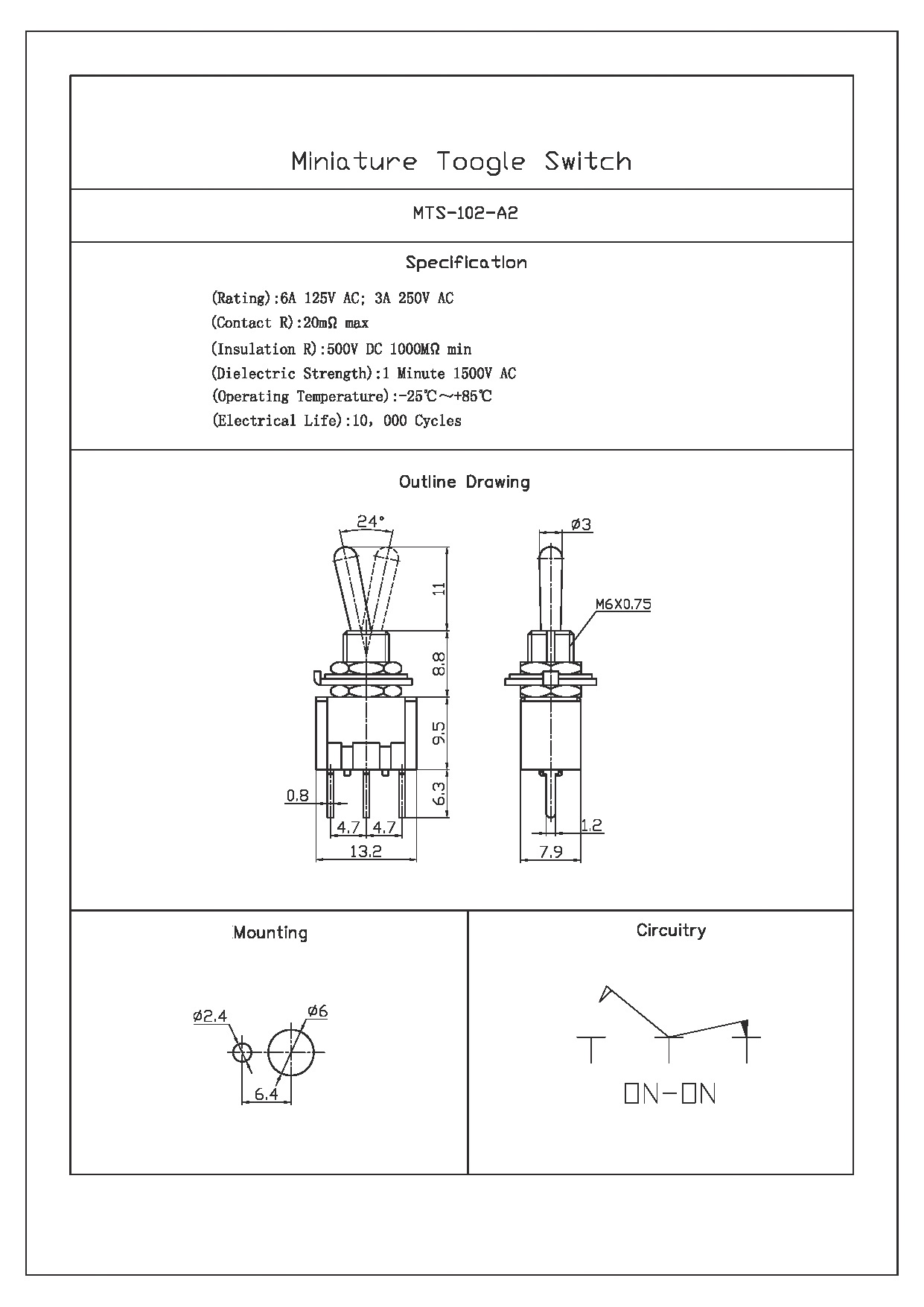 Spdt On Toggle Switch Long Pcb Pin 125v Wiring Diagram Quick View