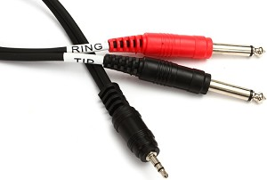 Hosa Breakout Cable - TRS 3.5mm to Dual TS 1/4""
